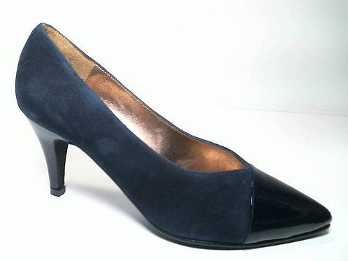 Zapato de vestir de ante-charol color azul (29651)