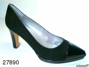 Zapato de vestir de ante-charol color negro (27890)