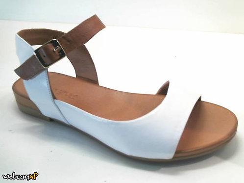 Sandalia de piel color blanco (32439)