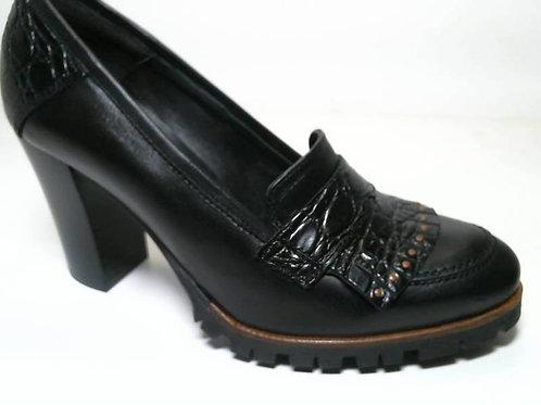 Zapato de vestir de anilina-coco color negro (29522)