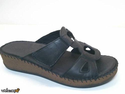 Sandalia de piel color negro (32419)