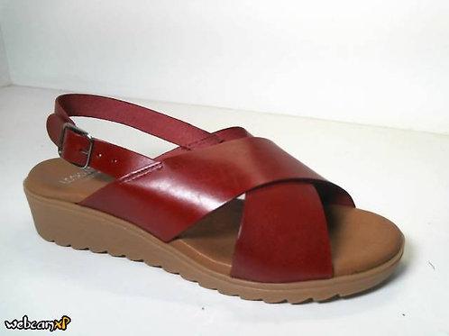 Sandalia de vaquetilla color burdeos (31728)