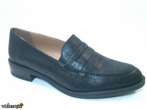 Mocasín de piel grabada coco color negro (32055)