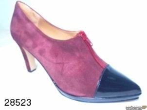 Zapato de vestir de ante-charol color burdeos (28523)