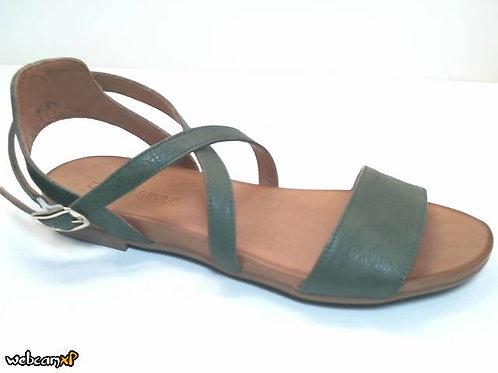 Sandalia de piel color verde (32455)
