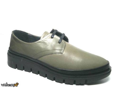 Zapato tipo casual de piel color kaki (32096)