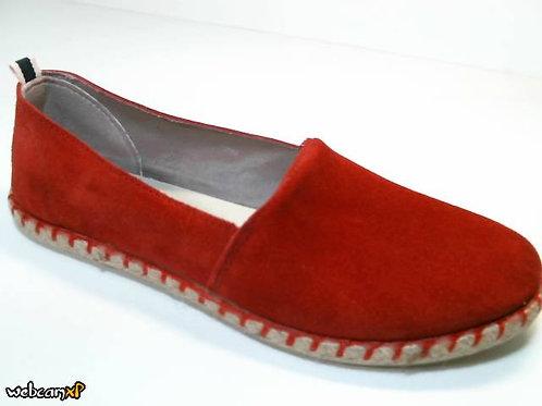 Zapato tipo casual de serraje color rojo (29949)