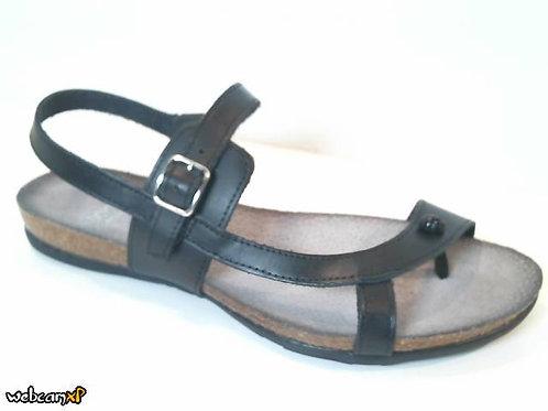 Sandalia de dedo de vaquetilla color negro (32010)