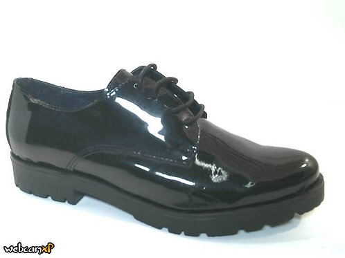 Blucher de charolmetal-forro cerdo flor color negro (32190)