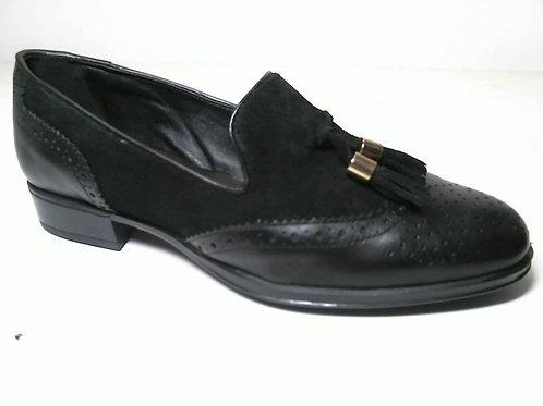 Zapato de vestir de anilina-serraje color negro (29520)