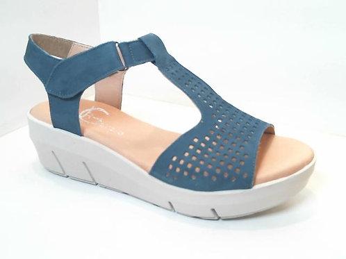 Sandalia de piel color azul (32547)