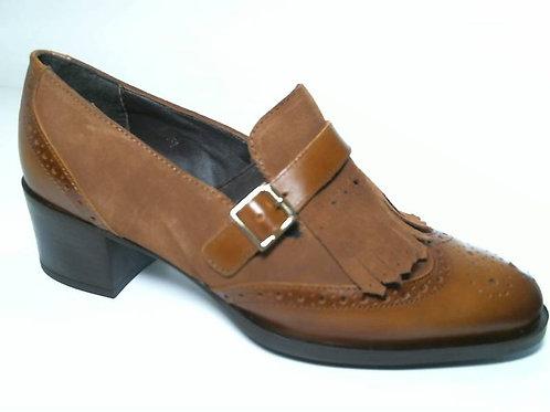 Zapato de vestir de anilina-serraje color cuero (29620)