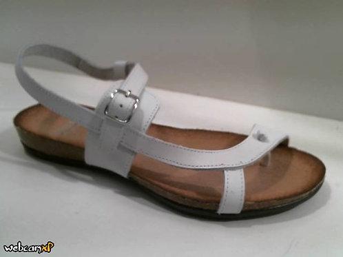 Sandalia de dedo de vaquetilla color blanco (32007)