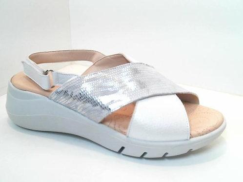 Sandalia de piel color blanco (32581)