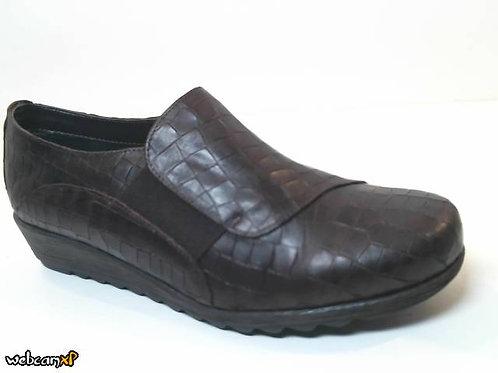 Zapato tipo casual de piel grabada coco color marron (32076)