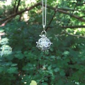 """Angel pendant with sterling silver chain 18"""" white"""