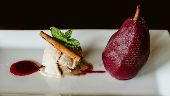 Poached Pear with Cinnamon Gelato