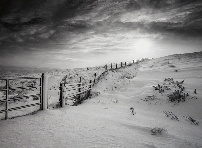 MONO - Gatepost and Fence in Winter by Norman McClelland (10 marks)