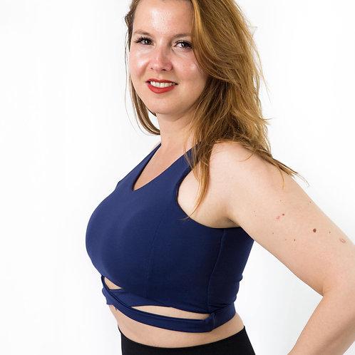 Blue mesh workout bra