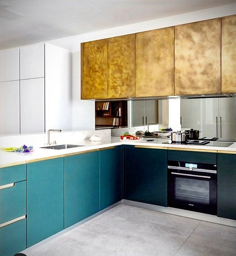 :: 'OCEAN SWELL' ANTIQUE BRASS KITCHEN WALL CABINETS ::