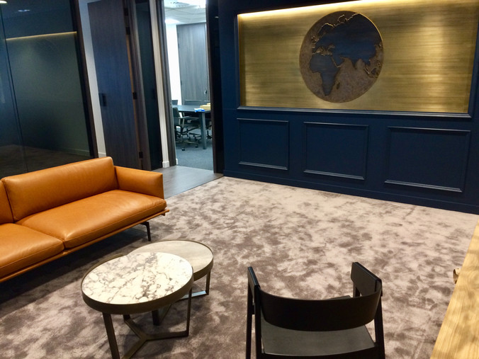 :: BRASS OFFICE FEATURE WALL PANEL & ANTIQUED GLOBE ::