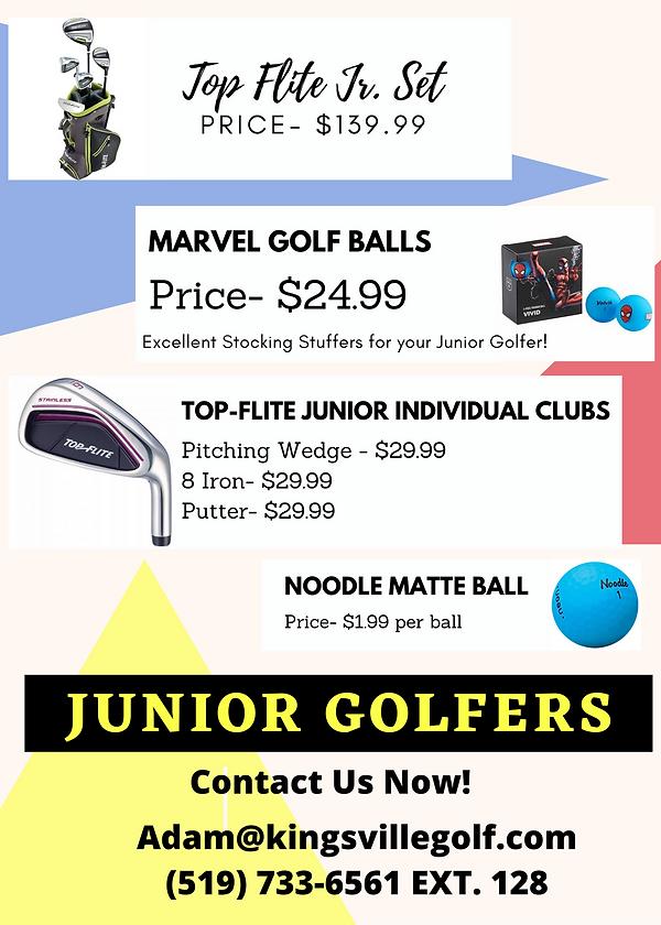 Junior golf sale at Kingsville Golf