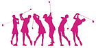 Pink silouette golfers