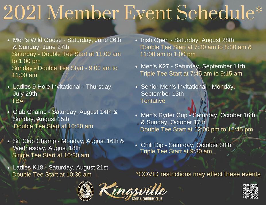2021 Member Event Schedule at Kingsville Golf