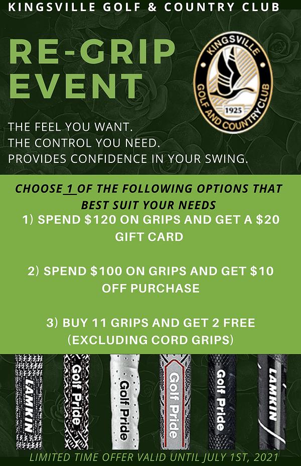 Golf Grip Sale at Kingsville Golf!