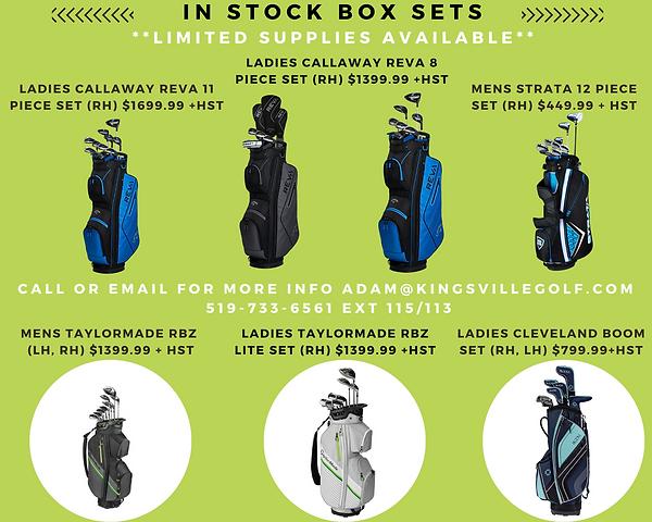 In Stock Box Set Sale at Kingsville Golf