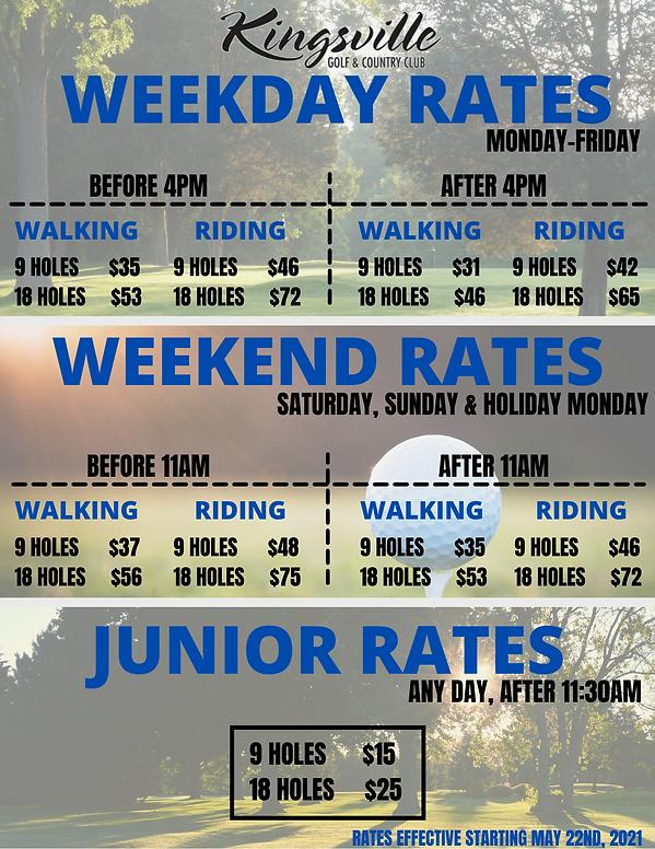 2021 Current Rates at Kingsville Golf