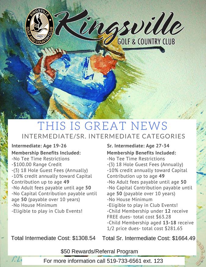 2021 Intermediate & Sr. Intermediate Membership Info at Kingsville Golf