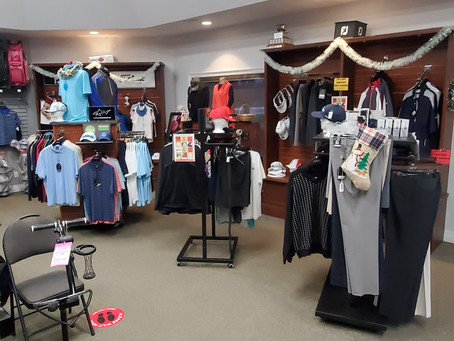 All Clothing 20%-50% Off! All Golf Bags 30% Off! Golf Shop is Open 9am-4pm daily.