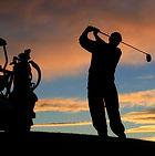 Image of golfer at twilight