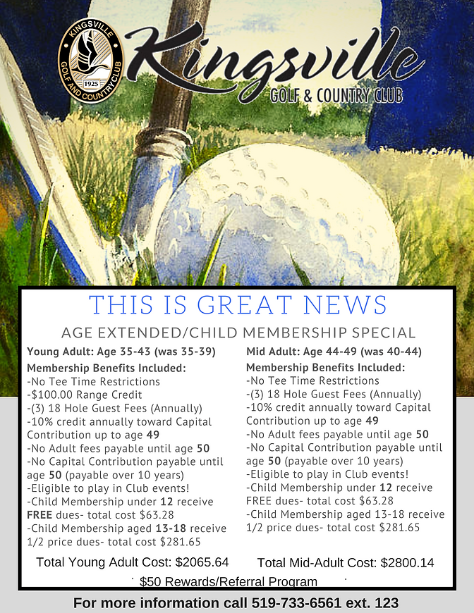 2021 Young Adult & Mid Adult Membership Info at Kingsville Golf