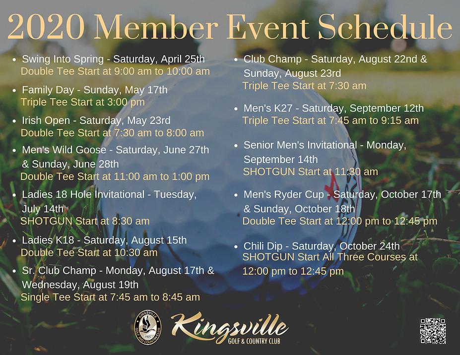 2020 Member Event Schedule at Kingsville Golf