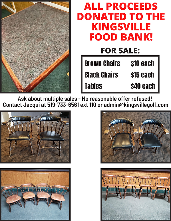 Chairs & Tables for Sale at Kingsville Golf