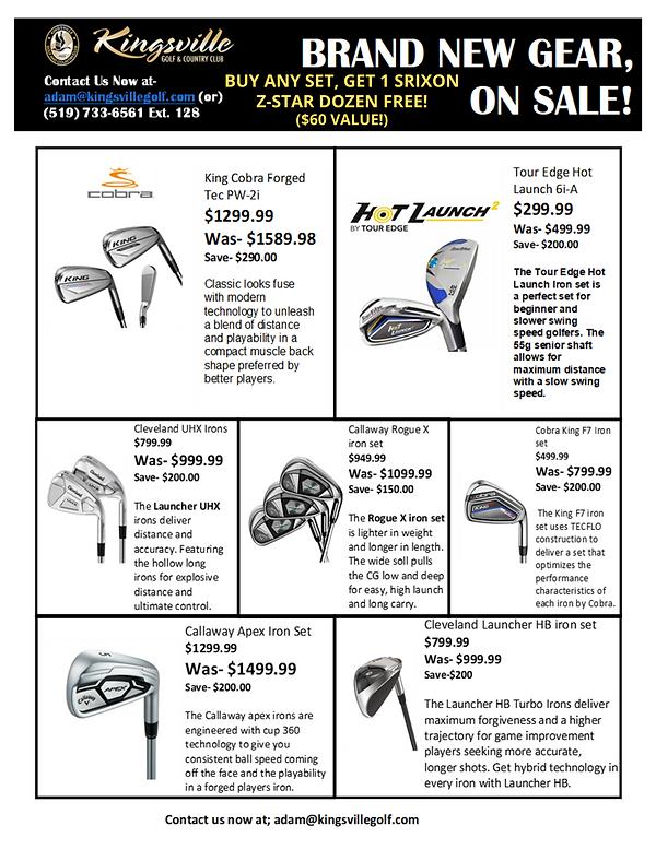 New golf gear sale at Kingsville Golf