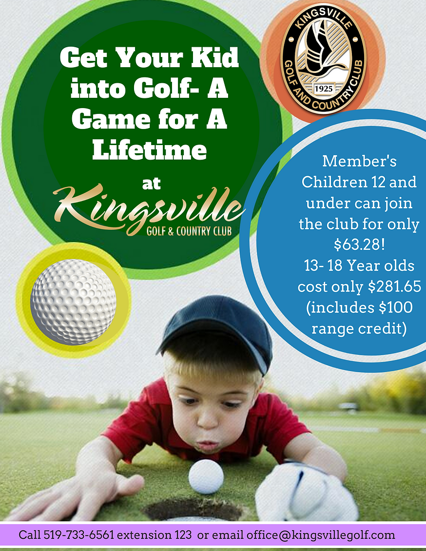 2021 Junior Memberships at Kingsville Golf