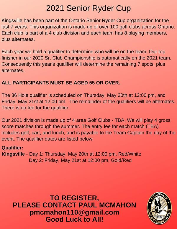 2021 Senior Ryder Cup Registration