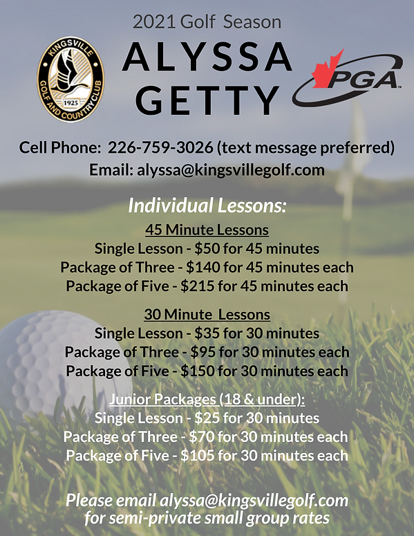 Alyssa Getty Lesson Rates at Kingsville Golf