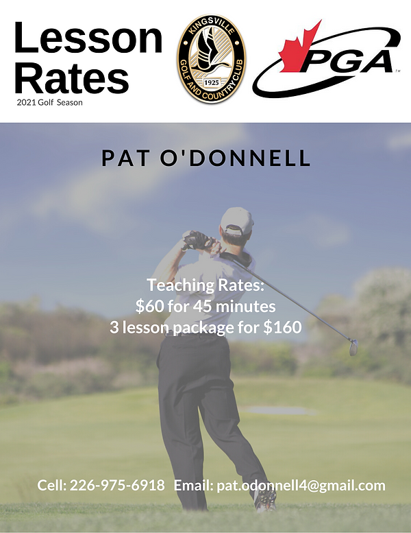 2021 Pat O'Donnell Lesson Rates