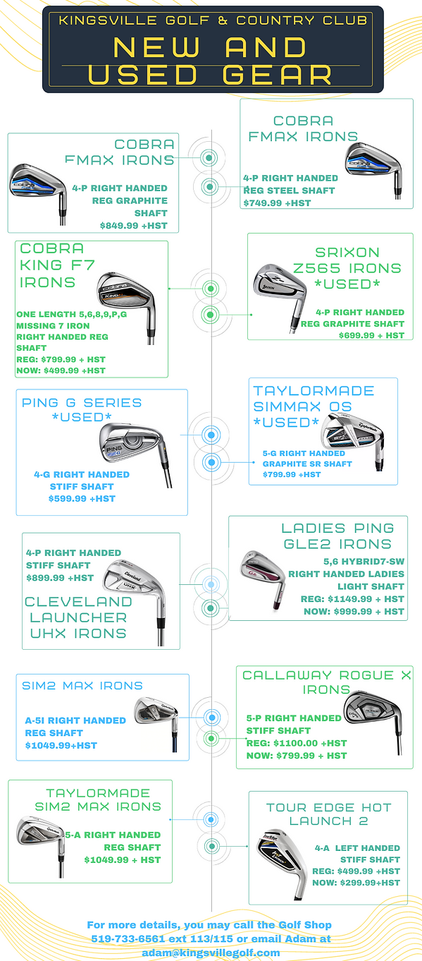 New & Used Clubs at Kingsville Golf