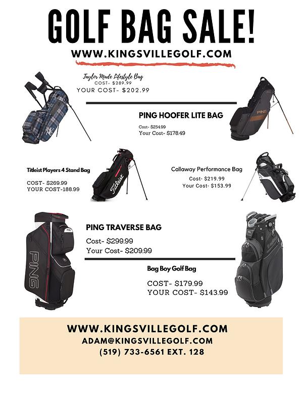 Golf Bag Sale at Kingsville Golf