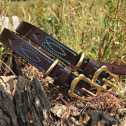 Plain Leather Collar with Decorative Stitch