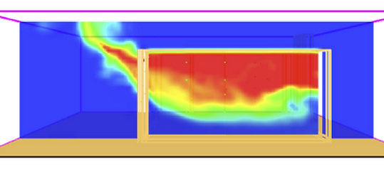 Fire Dynamics Simulator (FDS) simulation of burn structure ventilation tests