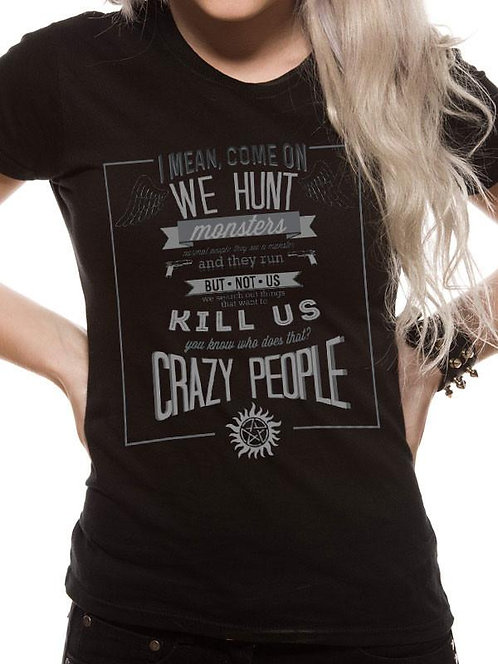 supernatural sam and dean winchester brothers fitted top castiel wayward son crazy people funny quote