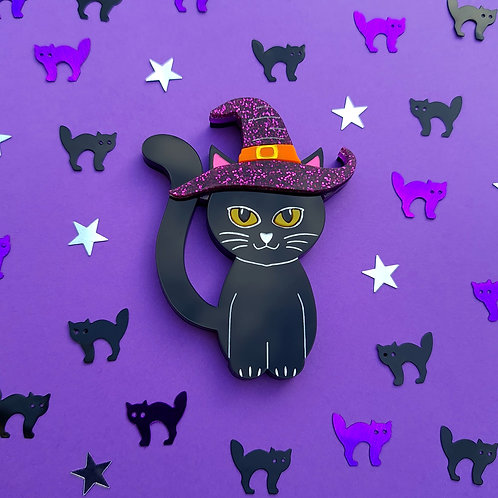 Black Cat in a Witches Hat Brooch