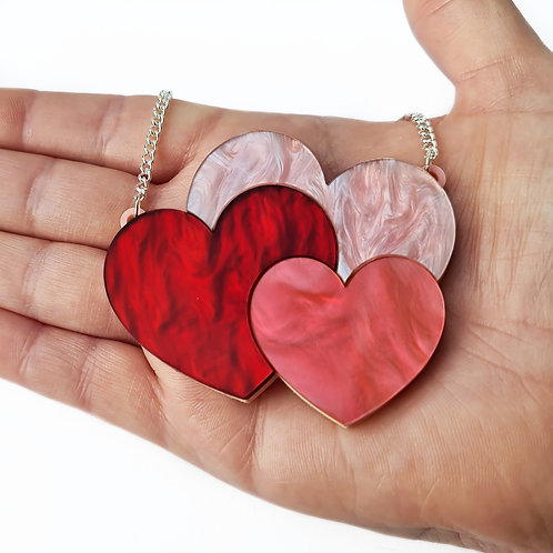 Pink & Red Hearts Trio Necklace