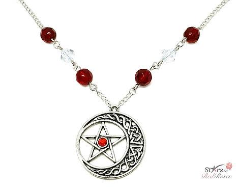 Moonstar Pentagram Silver Charm Necklace